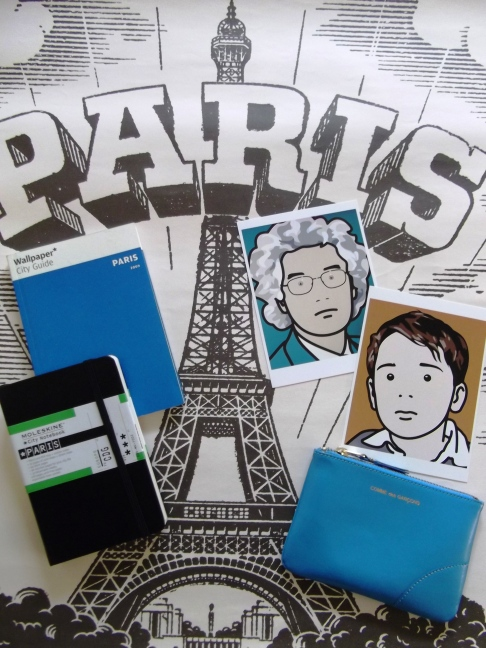 Julie Opie postcards, Paris Wallpaper city guide, Moleskin Paris journal