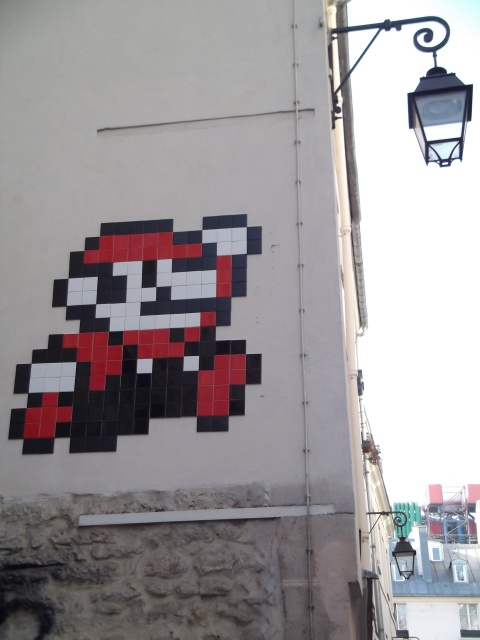 Mario bros tiles in Parisian Street, Le Marais