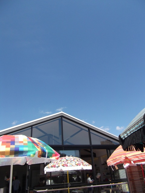 The Design Files Open House  - View from the terrace showing Basil Bangs outdoor umbrellas