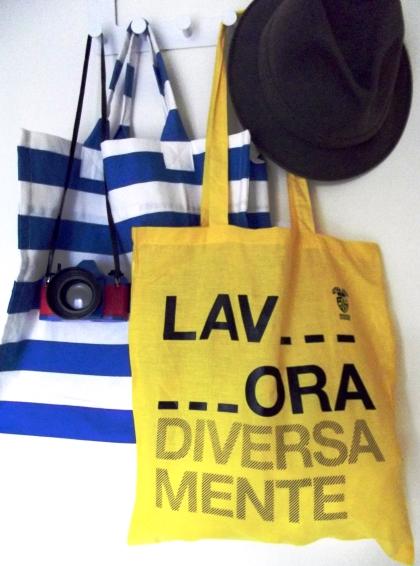 Lavora Diversamente exhibition yellow tote bag
