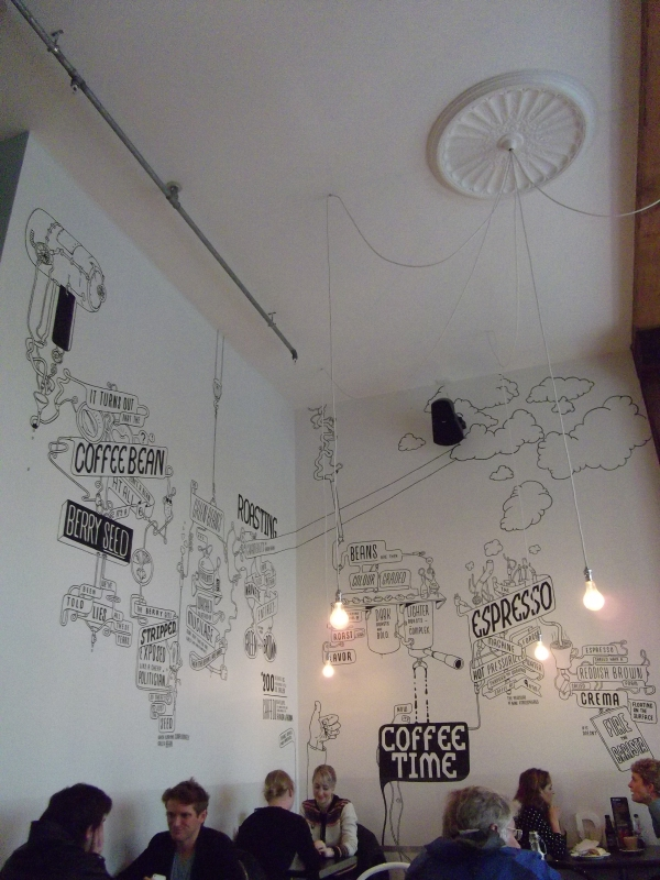 Wall graffiti at Shaky Isles cafe dining room, Britomart
