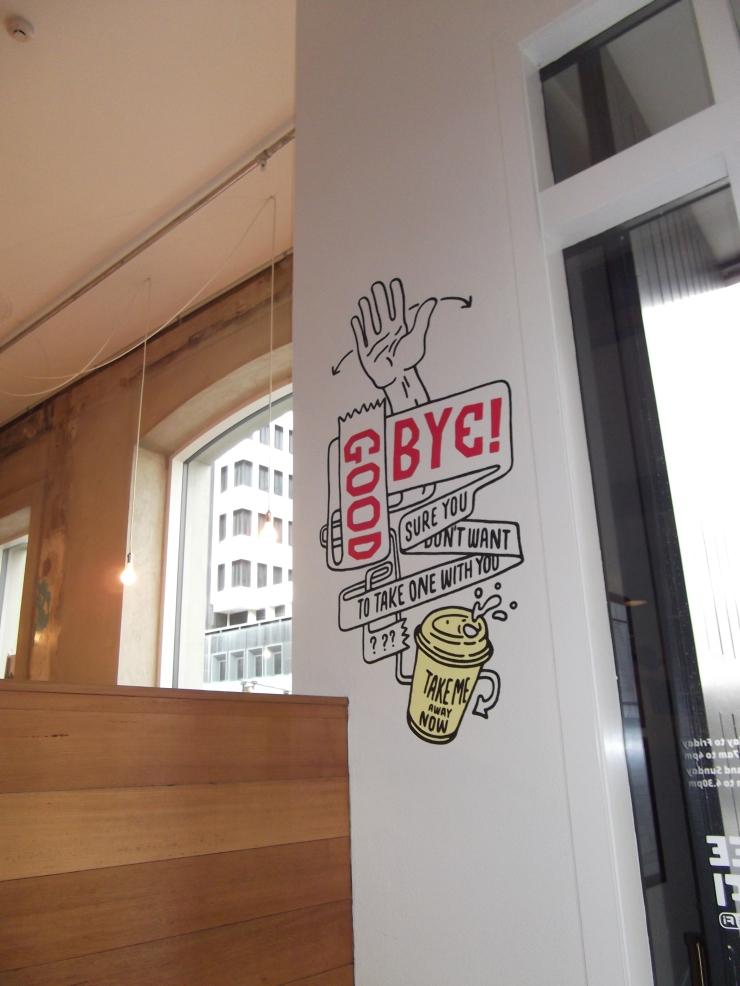 Wall illustration at Shaky Isles Cafe, Britomart