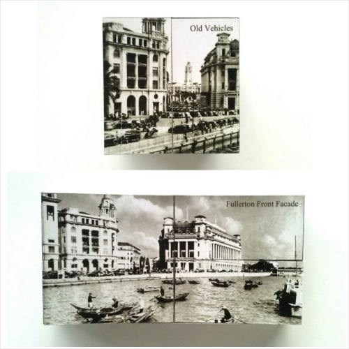 Singapore cube puzzle with historical scenes/pictures