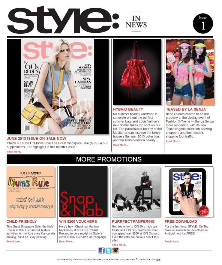 Style Magazine Singtapore email newsletter TEMPLATE