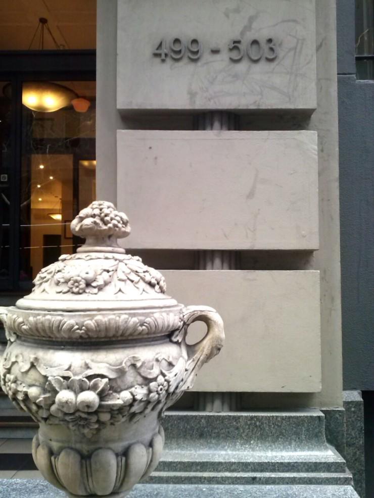 Henty House Melbourne vase sculpture entrance