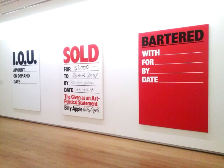 Auckland Art Gallery Billy Apple exhibition IOU SOLD BARTERED