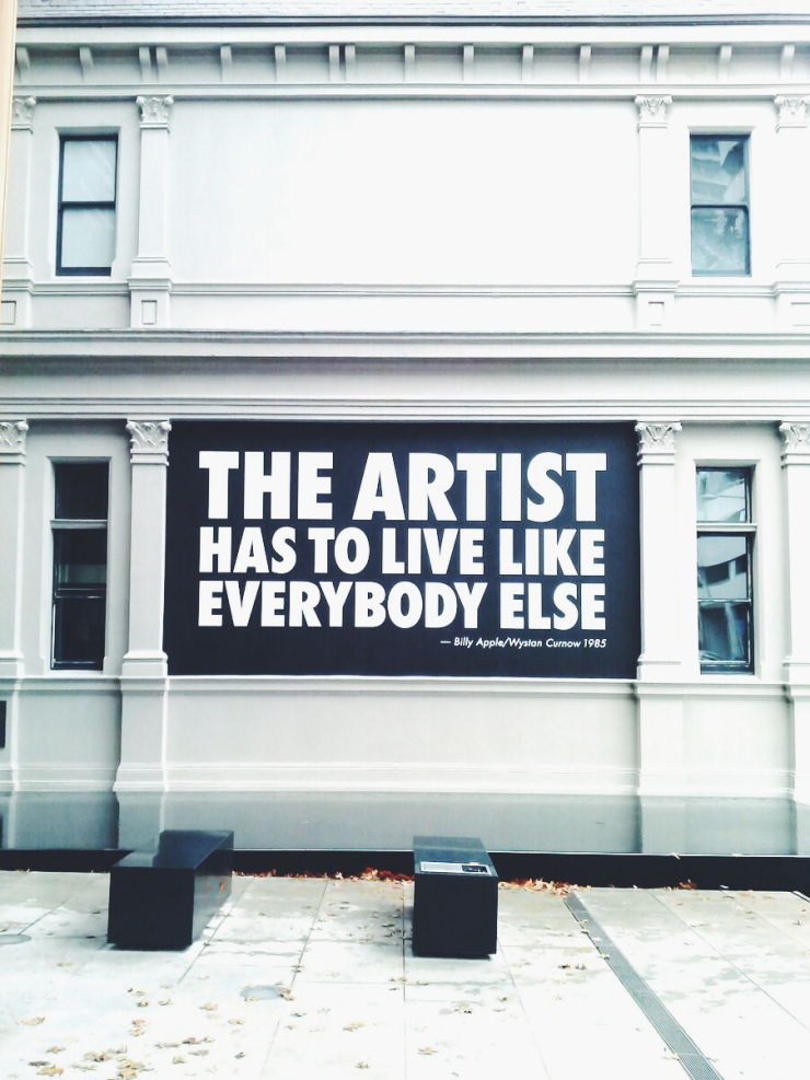 Auckland Art Gallery entrance Artist has to live like everybody