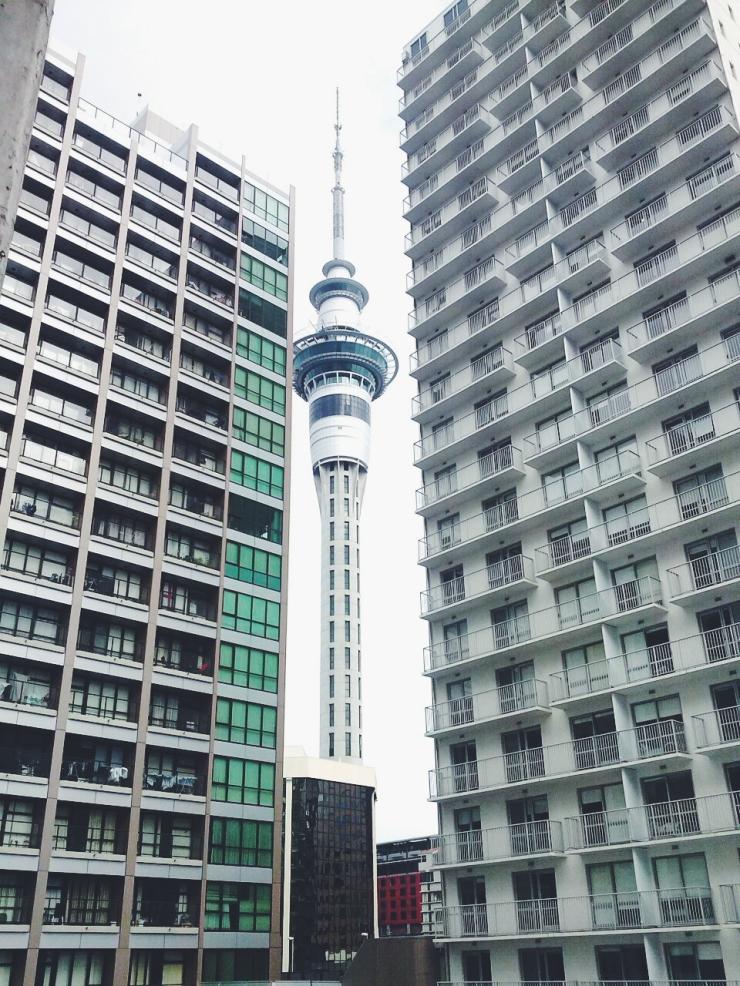 Auckland Wyndham Street Sky Tower Skyscraper view