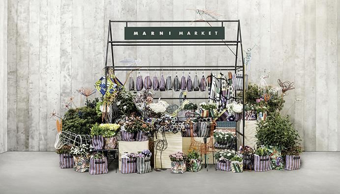 Marni X Le Bon Marche Market  stall cart installation pop up