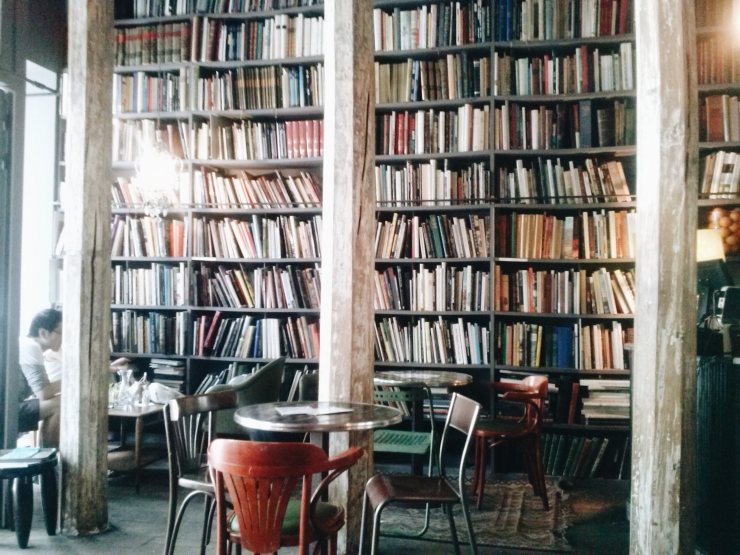 Merci Paris inside cafe bookshelves