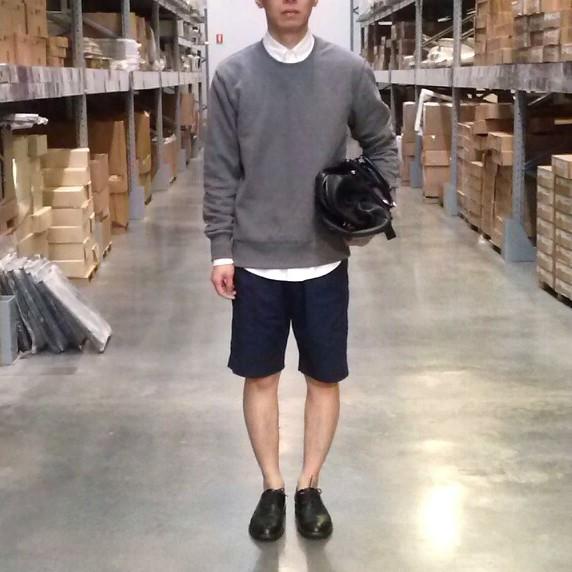ootd menstye with kmart sweatshirt hm shorts prada bag