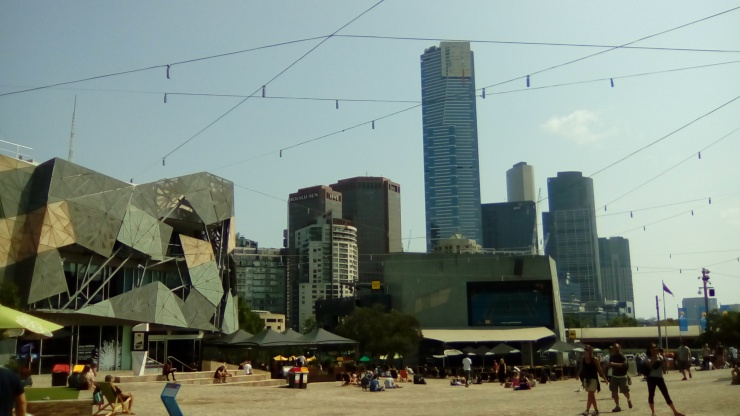 Federation Square view of Eureka Tower