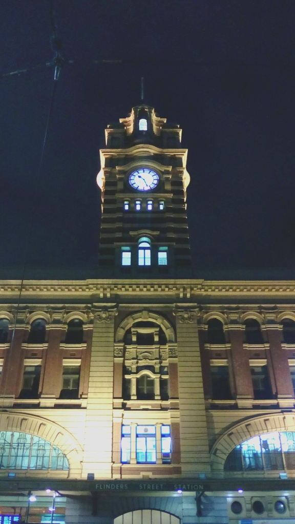 Flinders Street Station clock tower night view