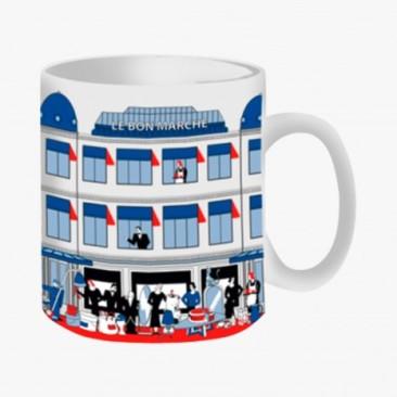 Le Bon Marche Paris department store in house design illustration facade mug
