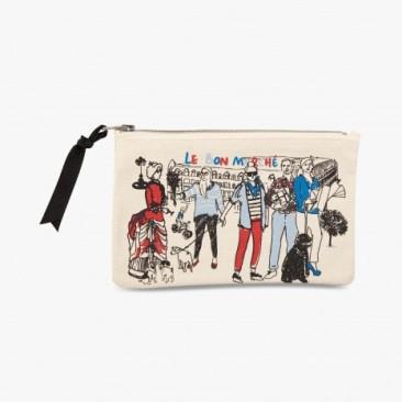 Le Bon Marche Paris department store in house design illustration pouch