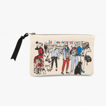 Le Bon Marche Paris department store in house design illustration pouch