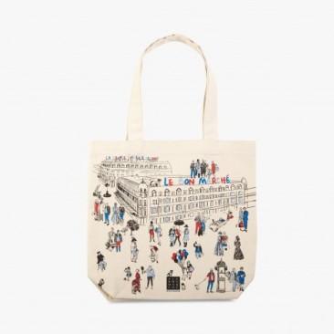 Le Bon Marche Paris department store in house design illustration tote
