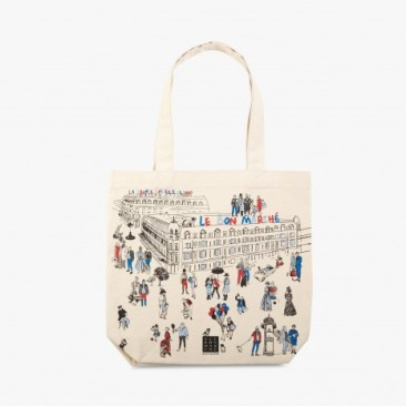 Le Bon Marche Paris department store in house design illustration tote