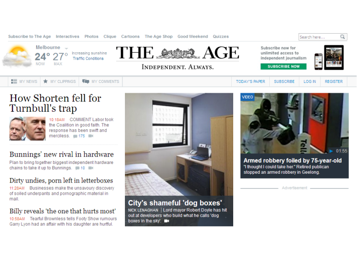 THE AGE website homepage Home@Flinders news article dog boxes in the sky 11 March 2016