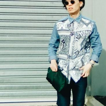 Jean Paul Gaultier X Target Australia Denim Bandana print shirt OOTD close up