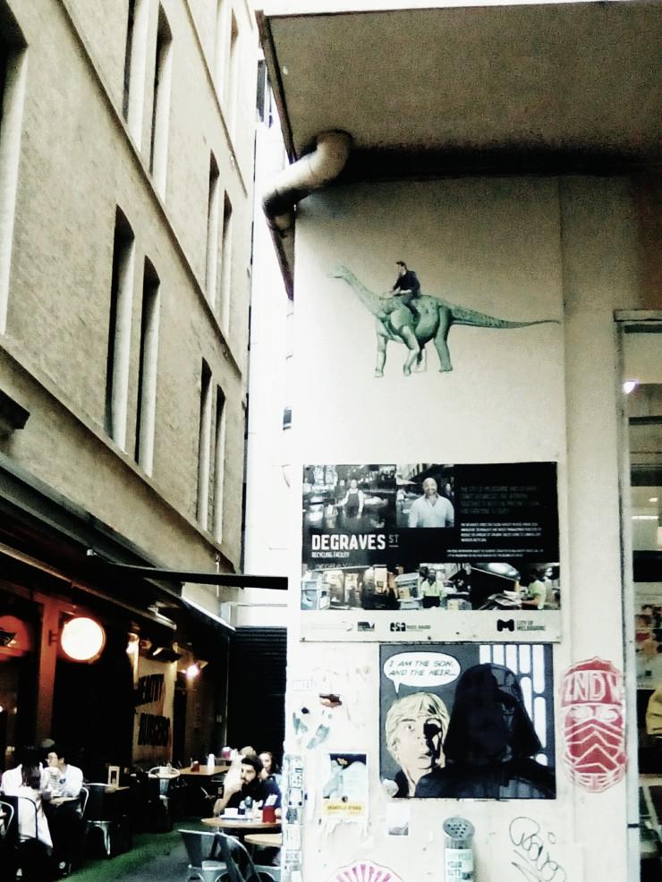 Degraves Street laneway wall graffitti art work laneway