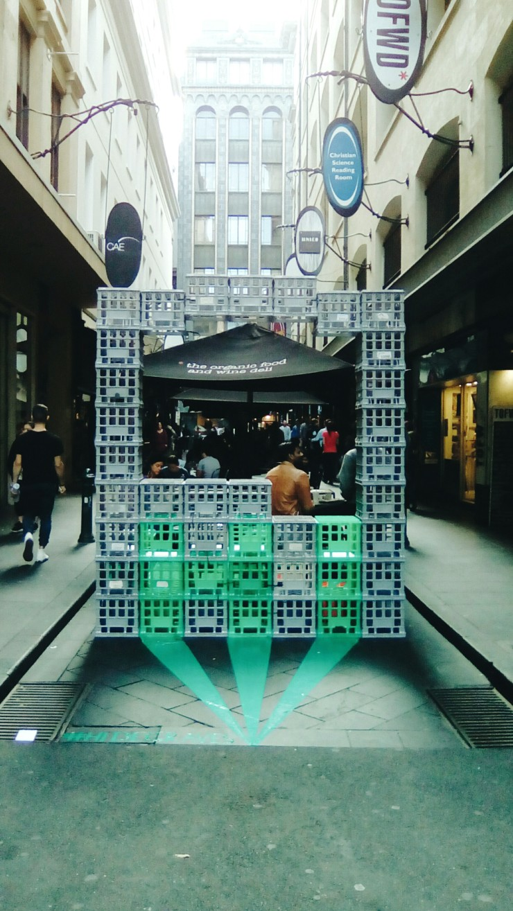 Degraves Street Milk Crate installation Melbourne
