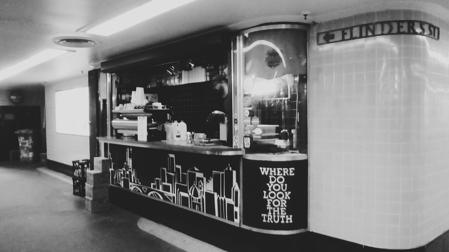 Degraves Street Underpass coffee kiosk Cup of Truth landscape Melbourne Flinders Street Station bw