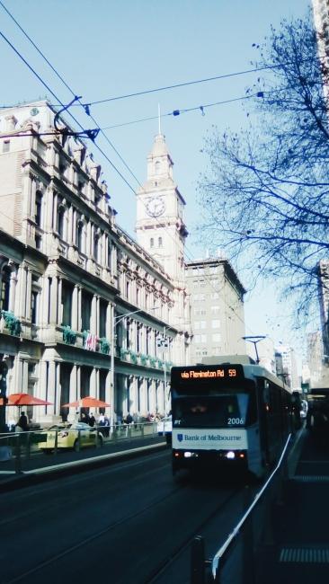 Elizabeth Street Melbourne tram line outside H&M GPO