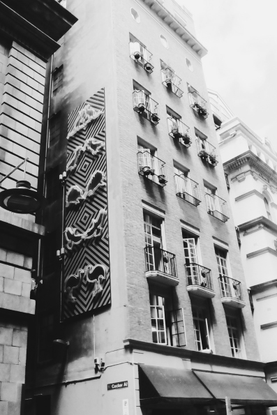 Flinders Lane building black and white