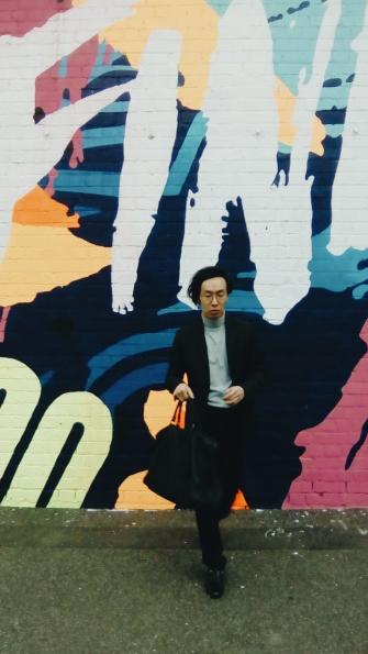 South Melbourne Wall mural street OOTD wearing H&M Prada vintage walking away