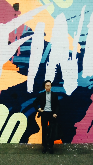 South Melbourne Wall mural street OOTD wearing H&M Prada vintage