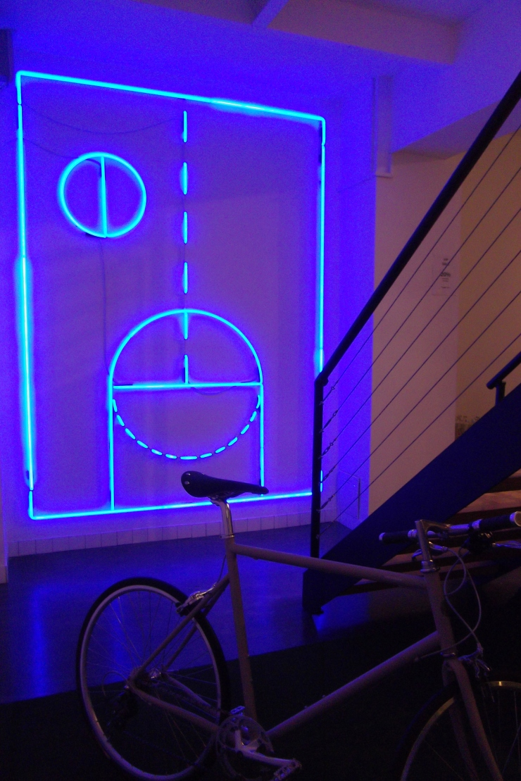 The Practical Man Flinders Lane basement blue light installation
