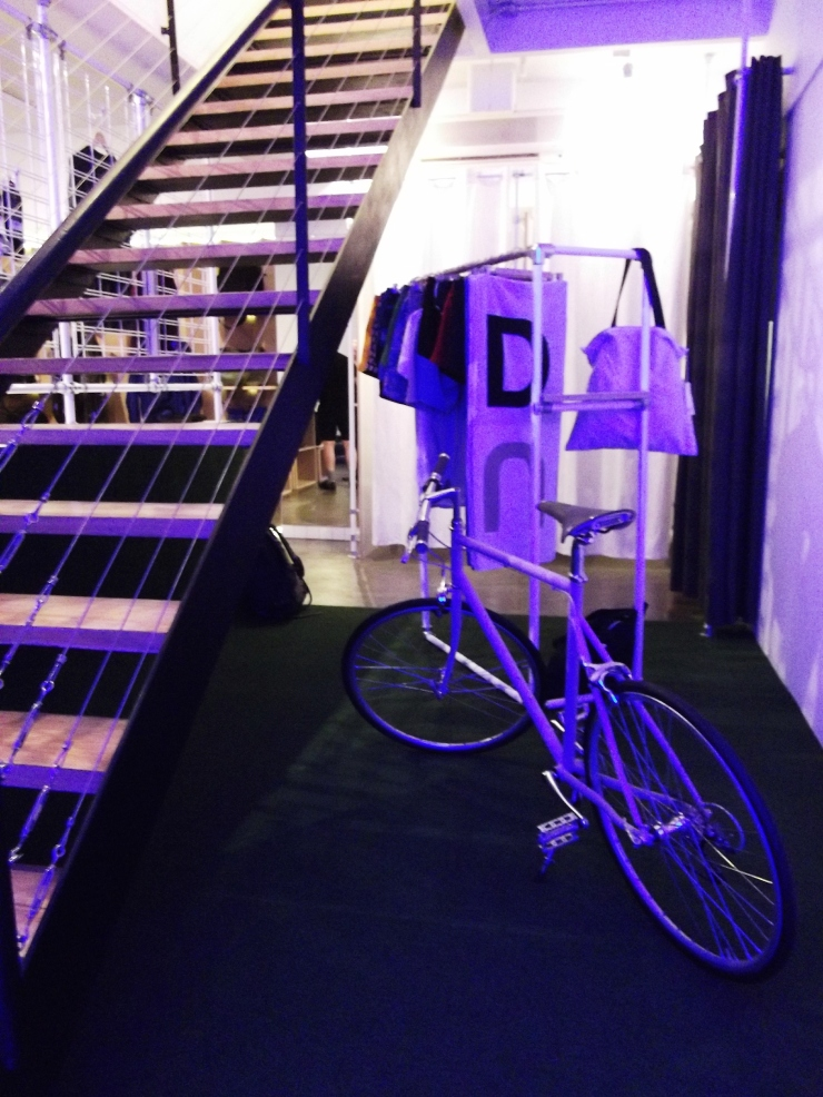 The Practical Man Flinders Lane basement stairs and bike installation visual merchadiising