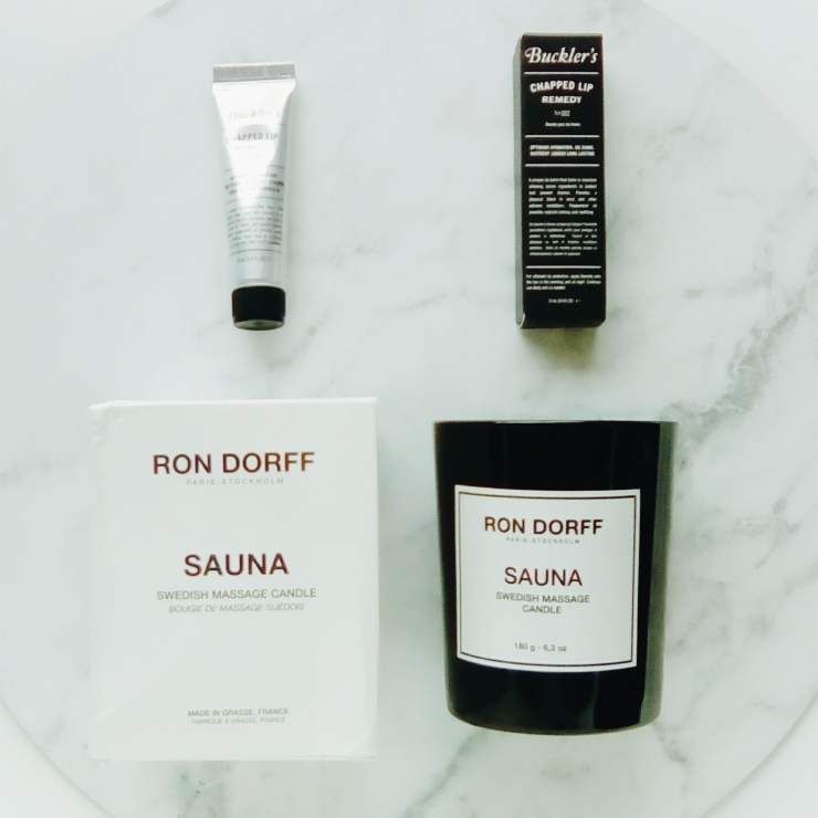 The Practical Man Flinders Lane Ron Dorff Sauna candle and Bucklers Lip Balm shopping