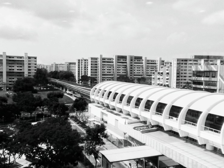 Tampines MRT station Singapore with HDB flats
