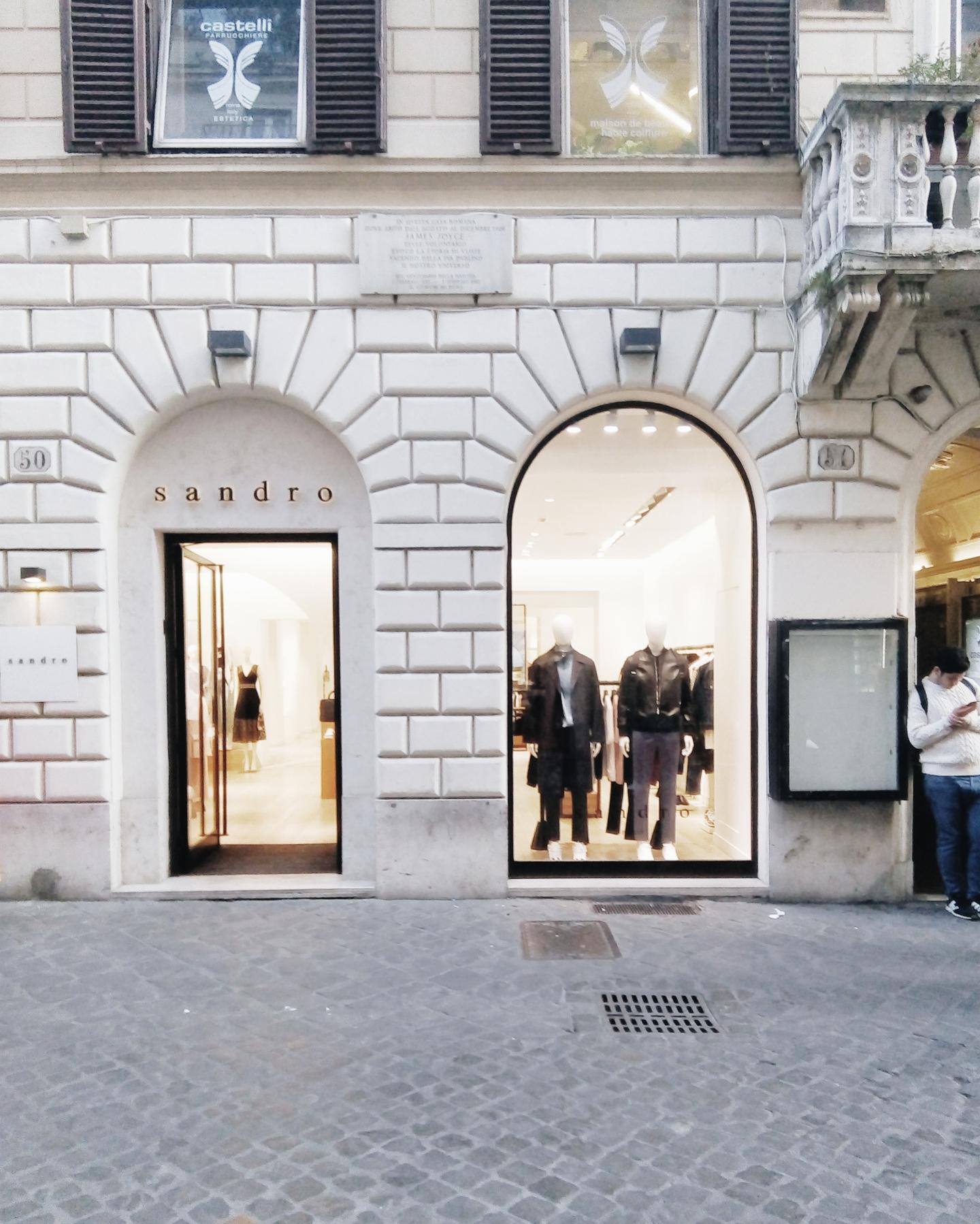 Sandro Paris Rome facade shopfront