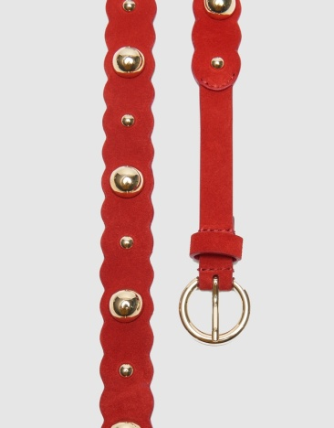 Chadstone Sandro Paris Cora Red suede leather belt $68 Made in Albania