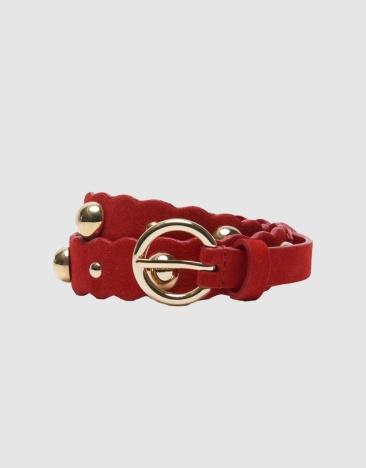 Chadstone Sandro Paris Cora Red suede leather belt $68