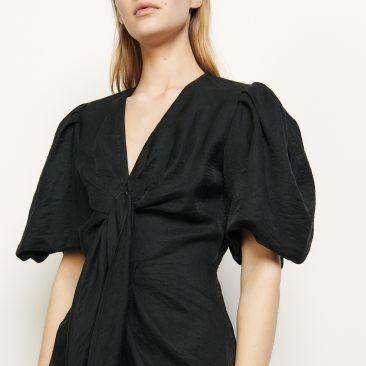 Chadstone SFPRO00930BLACK_Linen tie dress $258