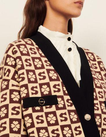 Sandro Paris Chadstone Melbourne brown beige floral pattern Cardigan Sandro_SFPCA00492-G150_V_4